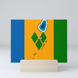 St Vincent and the Grenadines Flag with Island Maps Mini Art Print