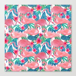 Tropical Flamingo Watercolor Floral Canvas Print
