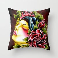 gypsy Throw Pillows featuring Gypsy by Voss fineart