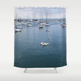 Monterey Bay Row Boat Shower Curtain