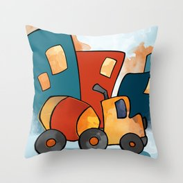 Cement Mixer, Construction Truck, Perfect for Child's Bedroom or Kid's Playroom Throw Pillow