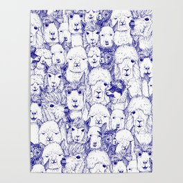 just alpacas blue white Poster