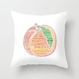 Peach Fruit illustrated with cities of Florida State USA Throw Pillow