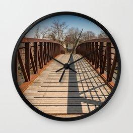 Foot bridge and shadows Wall Clock