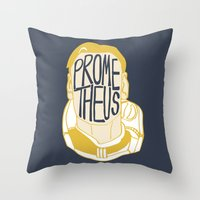 prometheus Throw Pillows featuring Prometheus by SleptAwoke