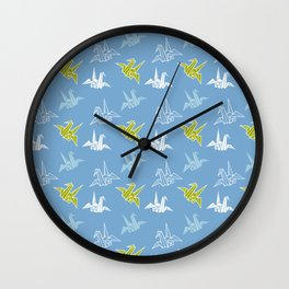 Blue Green Origami Crane Japanese Kimono Pattern Wall Clock