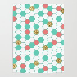 Mint Coral Gold Glitter Honeycomb Scatter Poster
