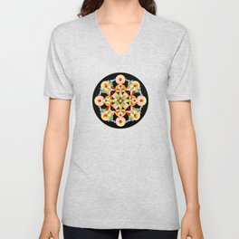 Pastel Carousel Black Circle Unisex V-Neck