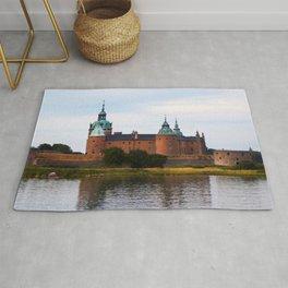 Watercolor Architecture, Kalmar Castle 01, Swedish Slott Rug