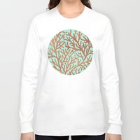copper Long Sleeve T-shirts featuring Copper Coral by Cat Coquillette