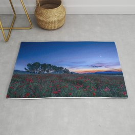 """""""Venus and Moon over spring poppies"""" Rug"""