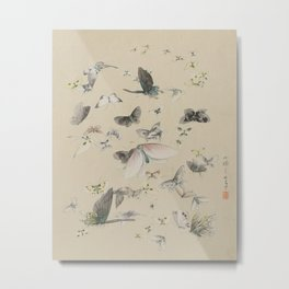 Butterflies and Moths Japanese Print Metal Print