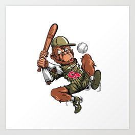 Baseball Monkey - Teak Art Print