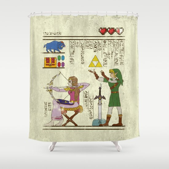hero-glyphics: Hyrule History Shower Curtain