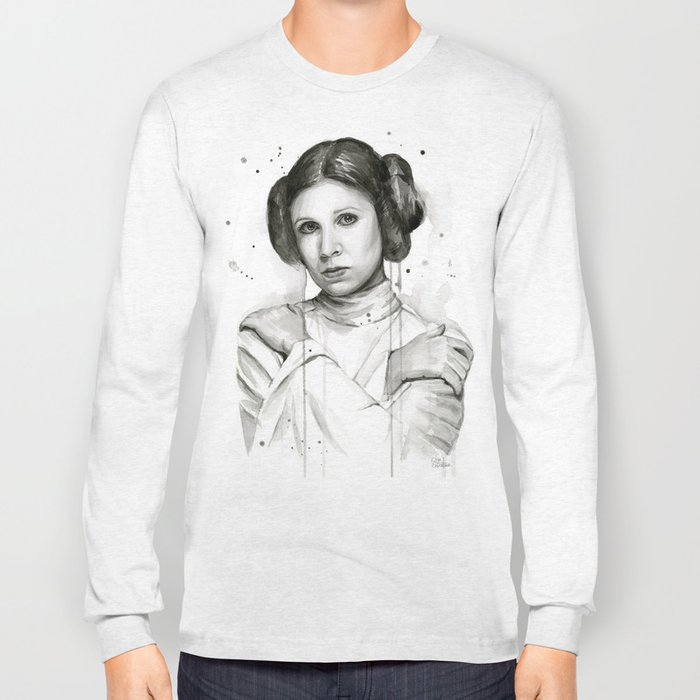 Princess Leia Watercolor Carrie Fisher Portrait Long Sleeve T-shirt