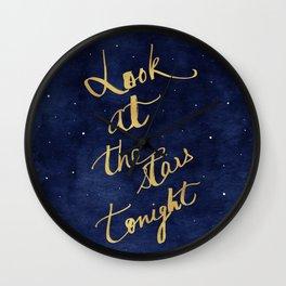 Starry Night Sky Art, Celestial Astronomy Stars Quote Art Print Poster, Celestial Nursery Decor Wall Clock