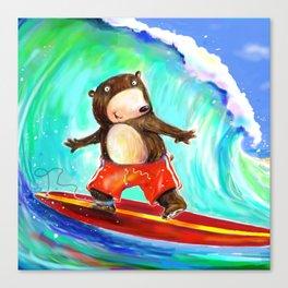 Surfing Bear Canvas Print