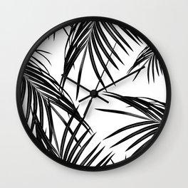 Black Palm Leaves Dream #1 #tropical #decor #art #society6 Wall Clock
