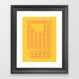 Periodic Table of Burger Elements - Yellow Framed Art Print