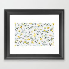floral vines - light blue and yellow Framed Art Print