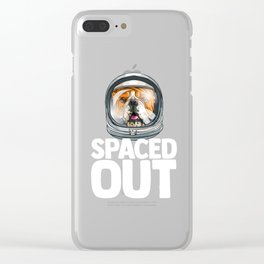 Spaced Out Astronaut Bulldog Outserspace Science Geek Clear iPhone Case