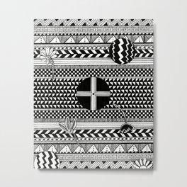 Geometric Pattern with Florals Metal Print