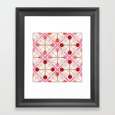 Crosses & Dots (red + pink) Framed Art Print