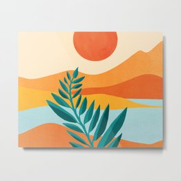 Mountain Sunset / Abstract Landscape Illustration Metal Print