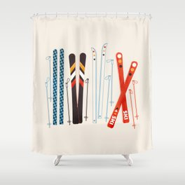 Retro Ski Illustration Shower Curtain