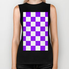 Large Checkered - White and Violet Biker Tank