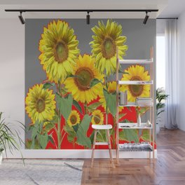 WESTERN STYLE  GREY-RED COLOR YELLOW SUNFLOWERS Wall Mural
