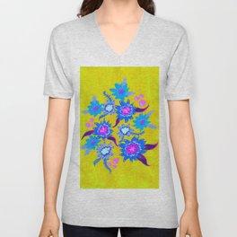 Electric Blue Blooms Unisex V-Neck
