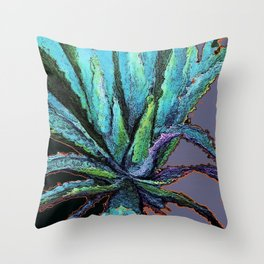 BLUE DESERT AGAVE CACTI PASTEL ART Throw Pillow
