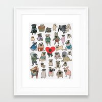 pugs Framed Art Prints featuring Pugs by Yuliya