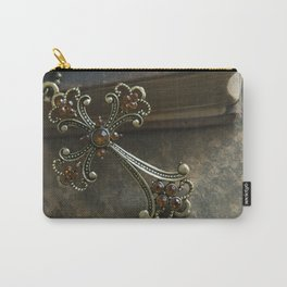 Cross with orange gems pendant on the old book Carry-All Pouch