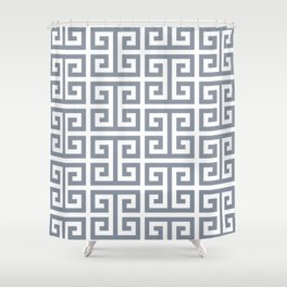Large Steel Grey and White Greek Key Pattern Shower Curtain