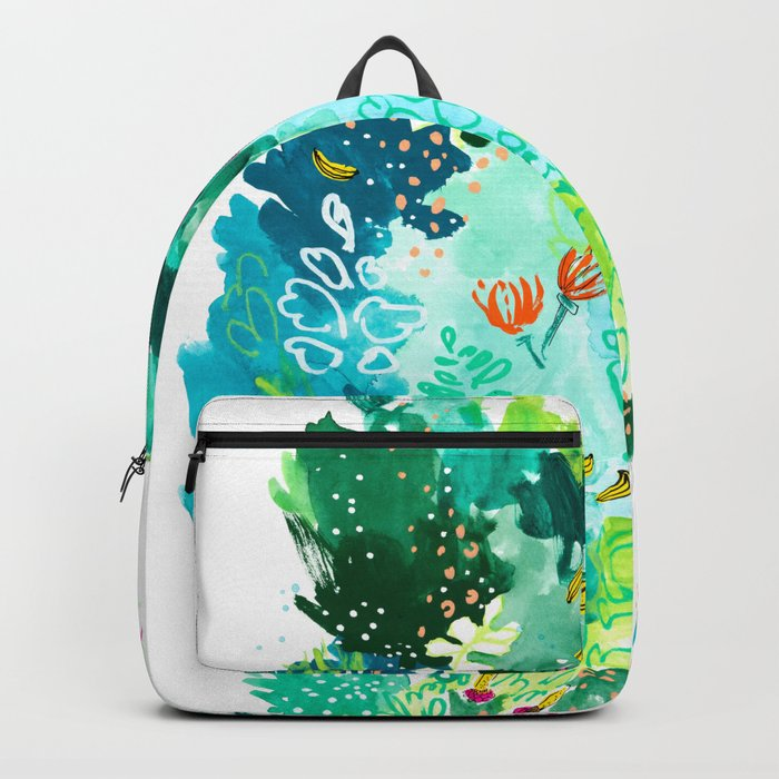 Twice Last Wednesday: Abstract Jungle Botanical Painting Rucksack