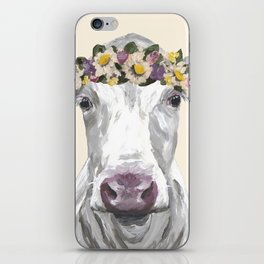 Cow With Flower Crown, Cute Cow Up Close iPhone Skin