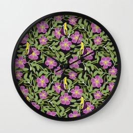 Purple Cistus and Butterflies Wall Clock