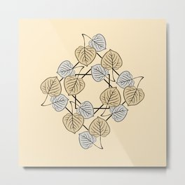 Dry Aspen Leaves in Squares 2 Metal Print
