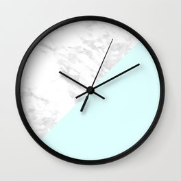 White Marble with Pastel Blue and Grey Wall Clock