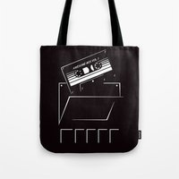 starlord Tote Bags featuring Gardians of the galaxy ( awesome mix vol.1) by MISTER BLACKWHITE