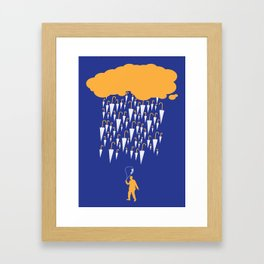 raining umbrellas Framed Art Print