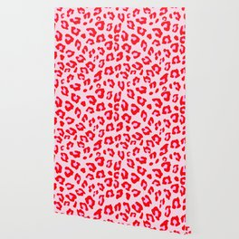Leopard Print - Red And Pink Wallpaper