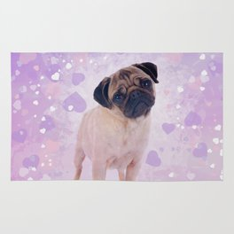 Cute Pug and heats Digital Art Rug