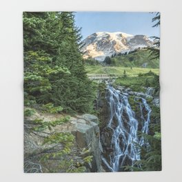 Early Morning at Myrtle Falls Throw Blanket