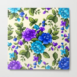 Pixel Floral - Blue on White Metal Print
