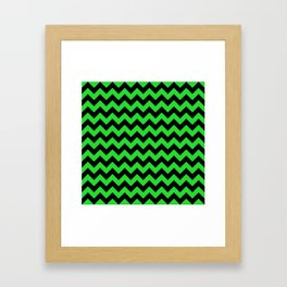 Large Black and Bright Monster Green Halloween Chevron Stripes Framed Art Print
