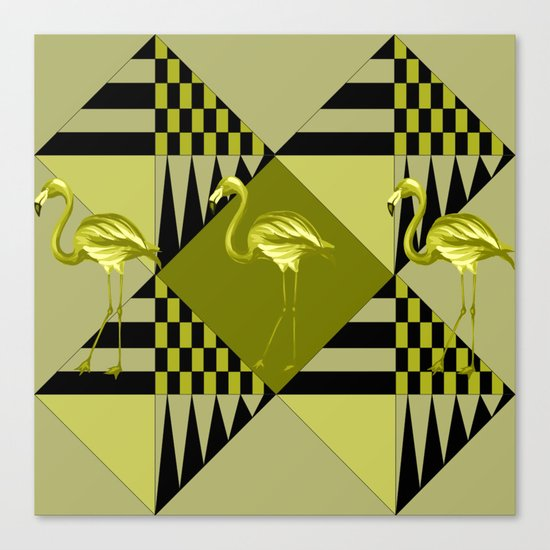 flamingo in green Canvas Print