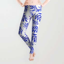 Watercolor branches pattern - blue Leggings